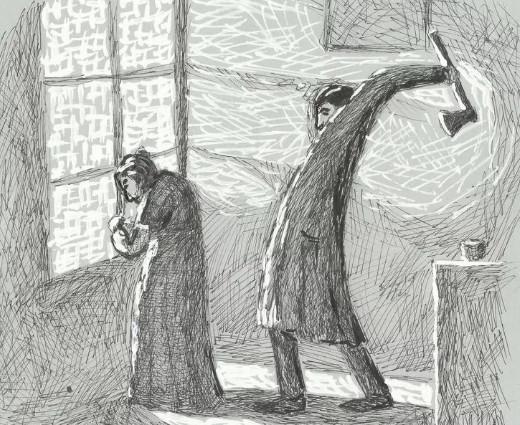 Иллюстрация Родион Раскольников убивает бабку