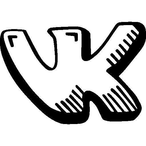 Чёрно-белый значок вк png на белом